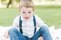 a wide eyed little boy