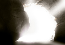 light entering the burial tomb of Jesus