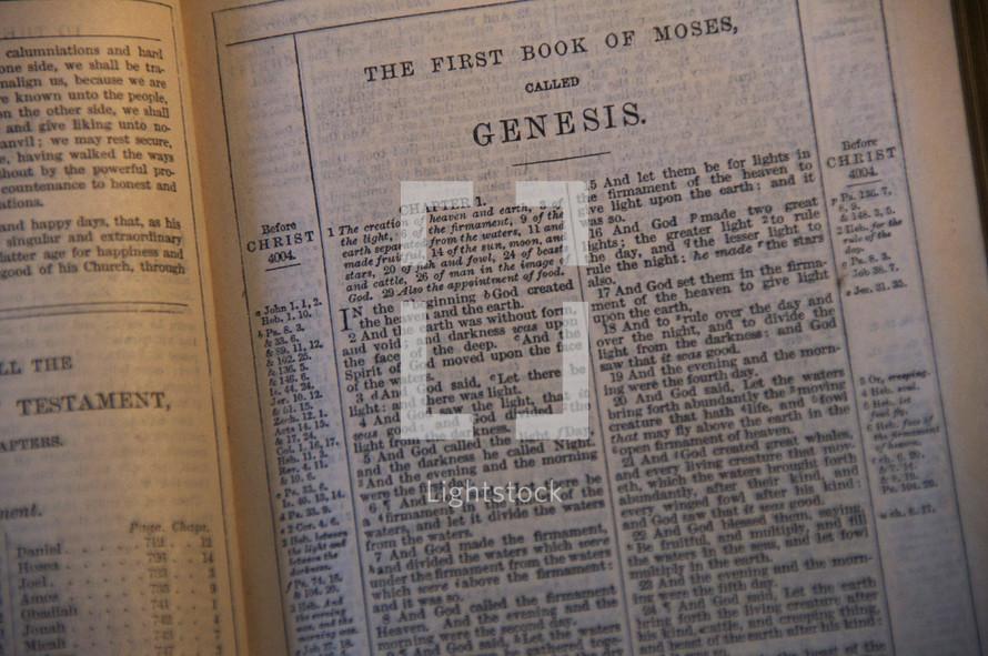 Open Bible in the book of Genesis