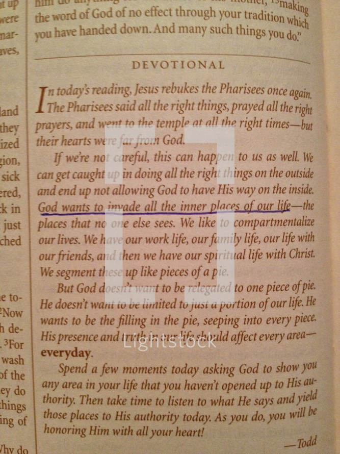 Devotional text - God wants to invade all inner places of our life