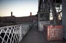 steel, urban, industry, industrial, railing, cargo bin, graffiti, steps, smoke stacks
