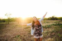 open arms, sun, sunburst, woman, joy, outdoors, rejoicing, outdoors
