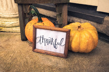 thankful sign and pumpkins on a floor