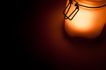 Candlelit jar.
