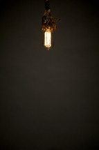 An old fashioned lightbulb hangs from the ceiling.