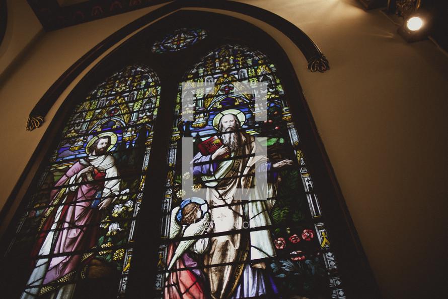 Stain glass window in church