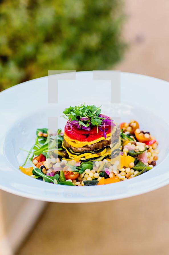 Gourmet vegetarian meal plate vegetables