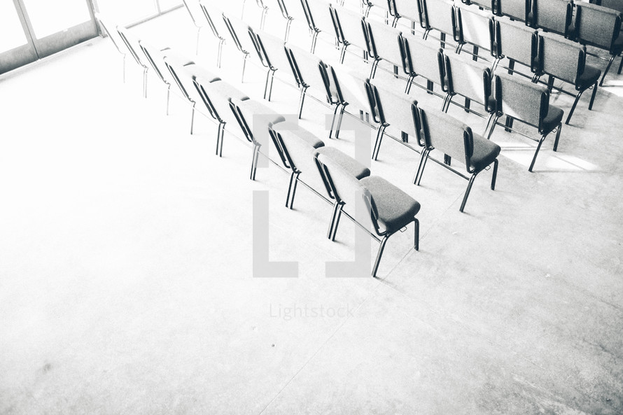 Aerial view of rows of chairs