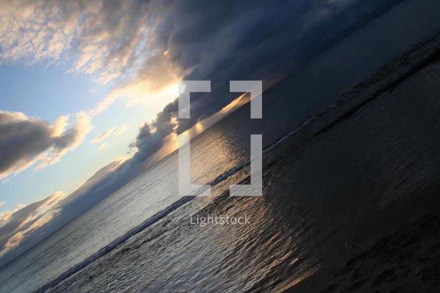 Dark beach sky