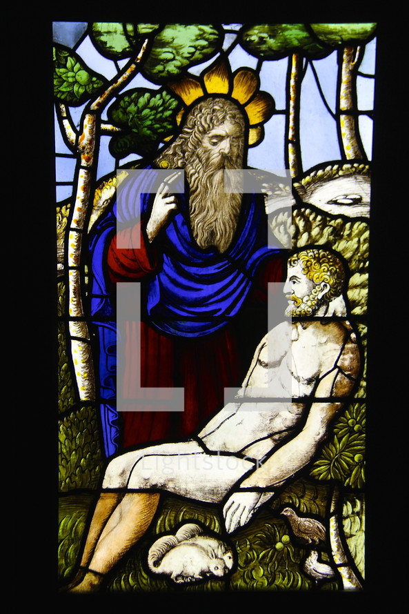 God creates Adam stained glass window, biblical scene, biblical figures