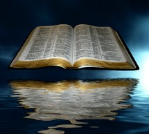 Open Bible floating above water.