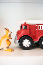 toy Kangaroo and firetruck