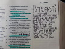 steadfast, notes on the edge of pages of a Bible