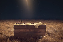 Primitive cradle and swaddling clothes under a starry sky.