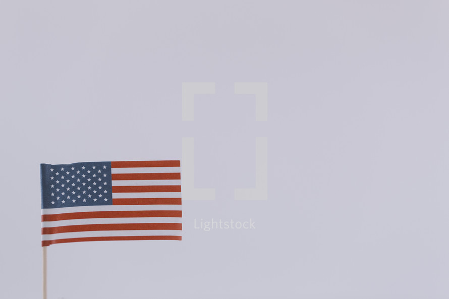 An American flag on a white background.