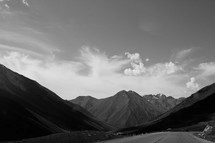 road and mountain peaks