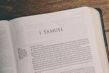 Bible opened to 1 Samuel