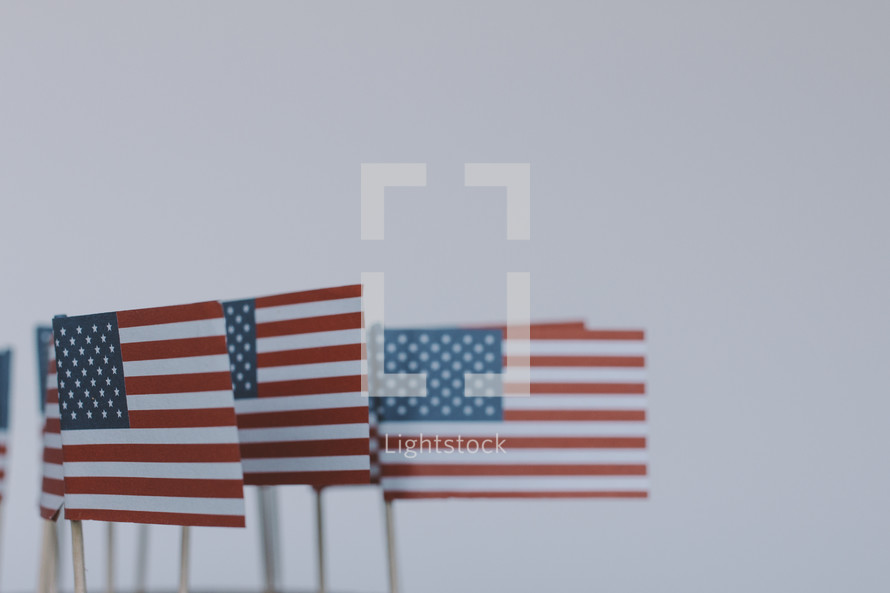 American flags against a white background.
