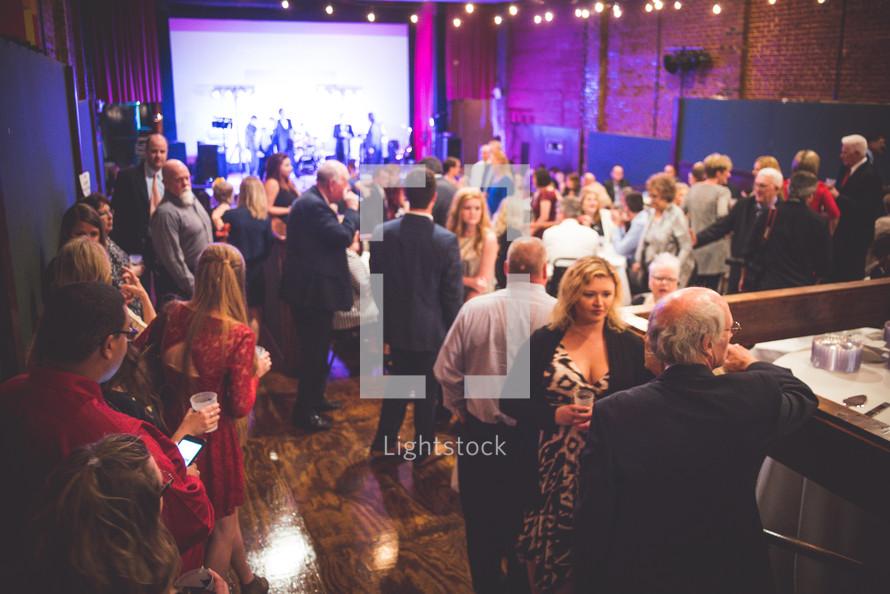conversations at a wedding reception