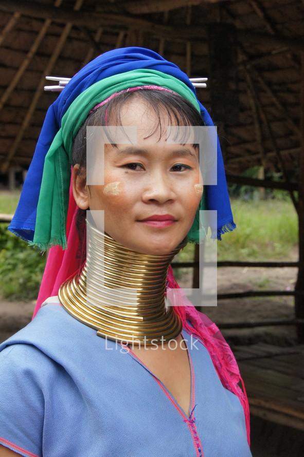 Hill tribe woman in ceremonial tribal wear