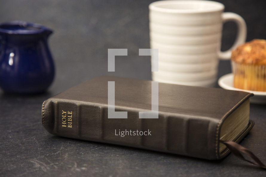 Breakfast on a Slate Tabletop and Bible