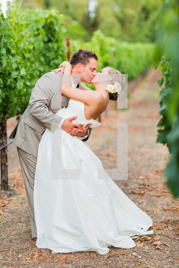 Kissing couple in a napa valley grape vineyard wedding bride groom dip flower in hair