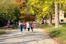 teen girl walking to school