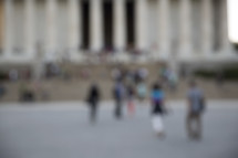blurry image of people in a crowd