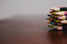 points of colored pencils