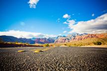 the open road through the Nevada desert mountains