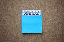 Sticky Note with Back to School Header. Copy Space