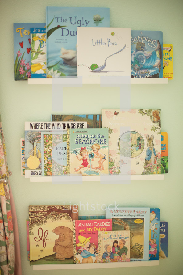 children's books on a shelf
