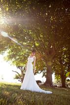 Bride in park