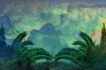 Easter background with palm fronds
