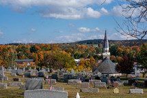 cemetery and church in fall
