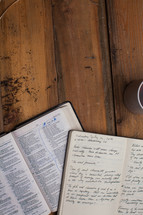 open pages of a Bible and journal