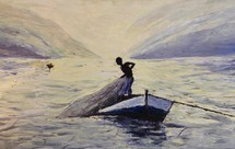 painting of a boy casting a fishing net off a boat