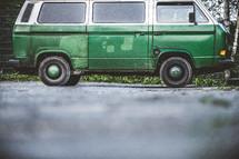 parked old green van