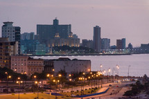 night, lights, bay, waterway, water, waterfront, buildings, homes, trees, coastal