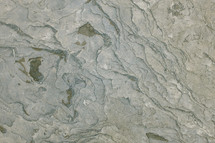 aerial view over layers of rocks