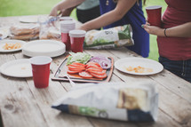 food on a table at a cookout