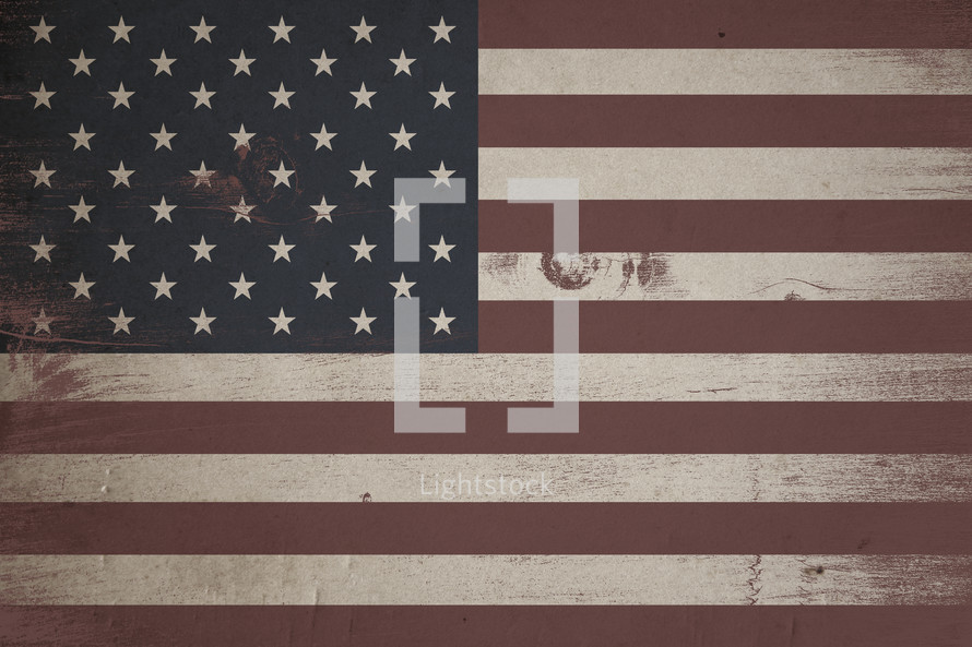American flag painted on wood background.