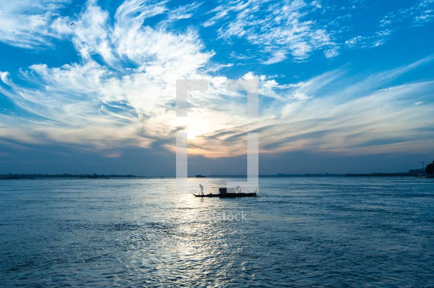 A fishing boat at sea