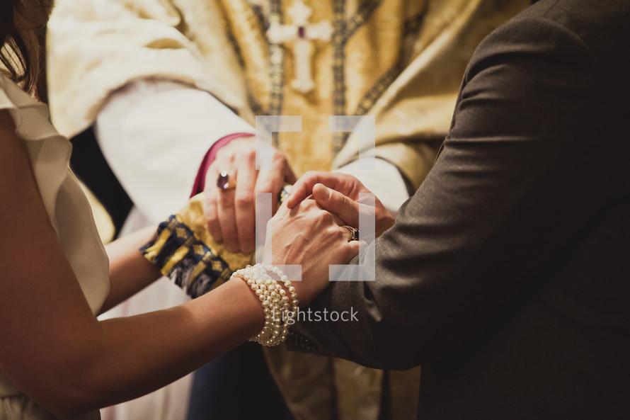 A wedding prayer with a priest