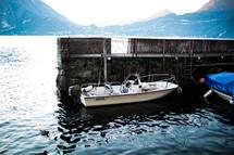 docked boat on lake Como