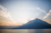 sky at sunrise on Lake Como