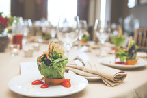 Wedding reception meal table. Healthy vegetarian salad