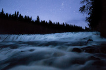 water flowing through rapids in a river