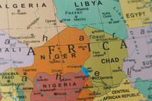 close up of a map of Africa, including, Libya, Chad, Nigeria, Algeria