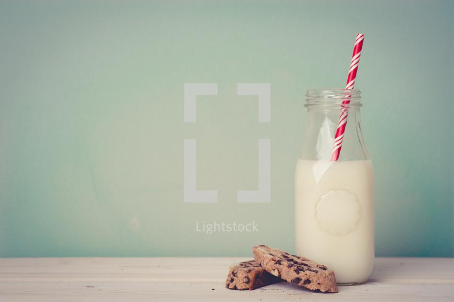 milk, straw, cookies